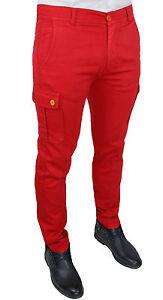 Pantalons Sur 100Made In Détails Battistini Italy Moulant Jeans Rouge Cargo Homme Slim Fit JlF1TKc3