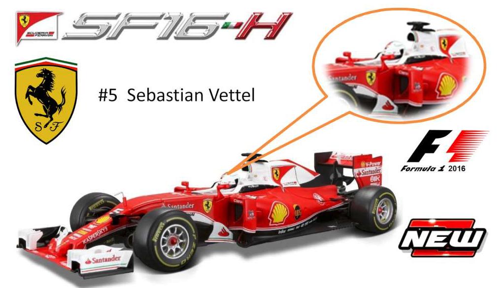 Bburago 1 18 Scale Ferrari SF16-T 2016 SB Vettel  5 formule 1 voiture F1 16802 V