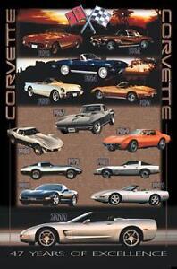 Corvette 1953-2000/ 47 Great Years Car Poster Rare!