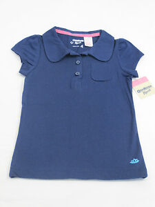 OshKosh-Girls-Kids-Short-Sleeve-Polo-Shirt-Top-sizes-5-6-Colour-Navy-Blue