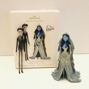 2009-Hallmark-Tim-Burton-s-Corpse-Bride-Emily-And-Victor-Set-Of-2-Ornament