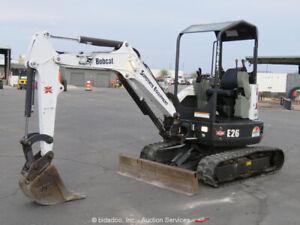 2014 Bobcat E26 Mini Excavator Tractor Aux Hyd Backfill Blade Kubota bidadoo