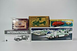 Lot 5 Texaco Toy Truck, Hess, Ertl Coin Banks Die-Cast & Plastic NEW