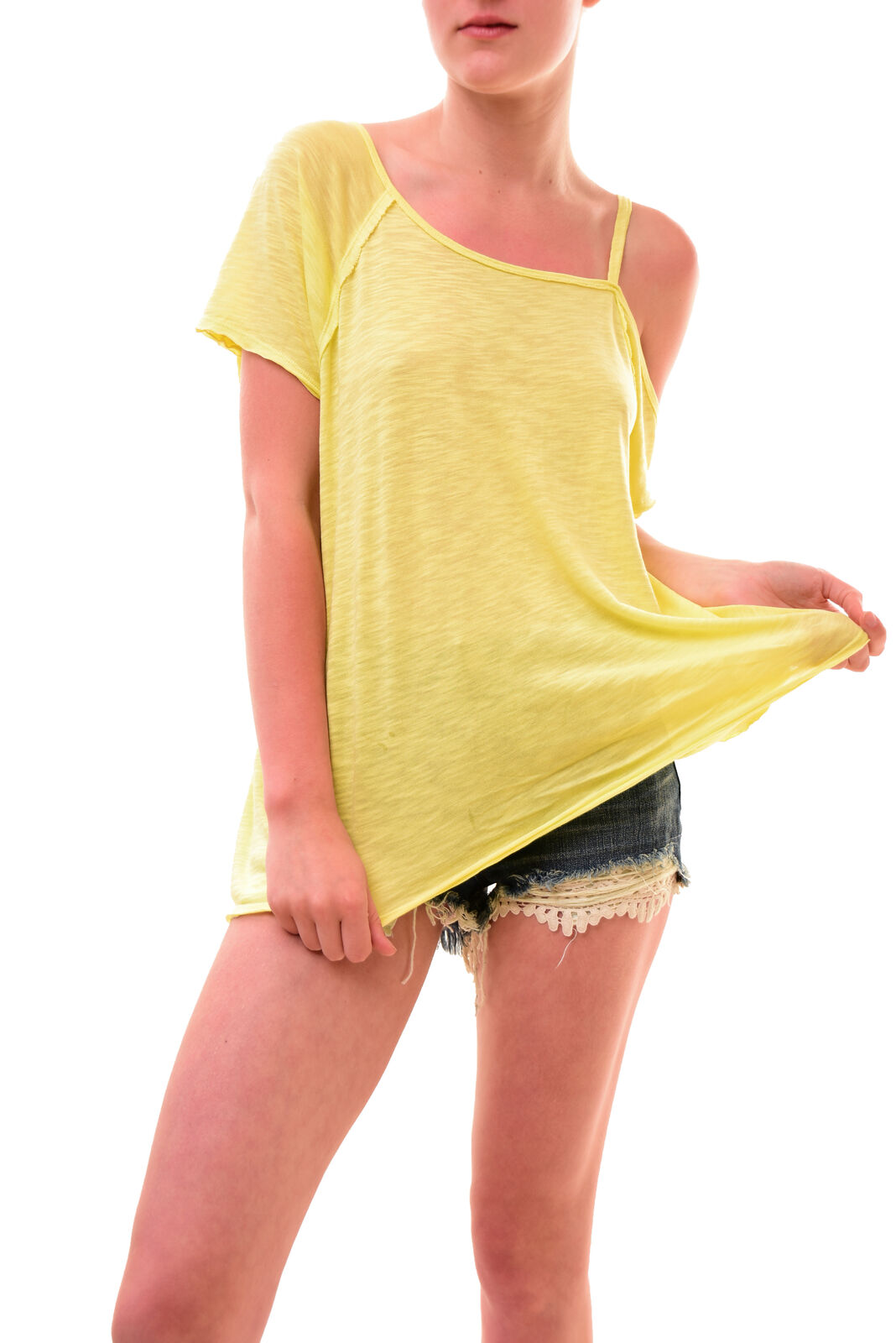 Free People Women's Unique Short Sleeves Relaxed Top Kiwi Size XS RRP 70 BCF77
