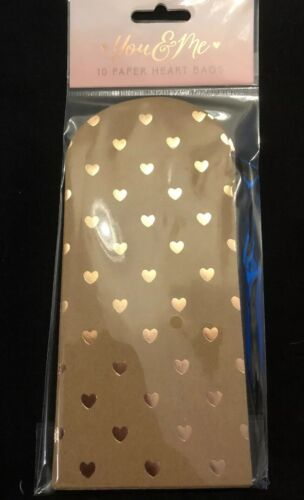 Rose Gold Heart Paper Favour Bags Pack Of 10