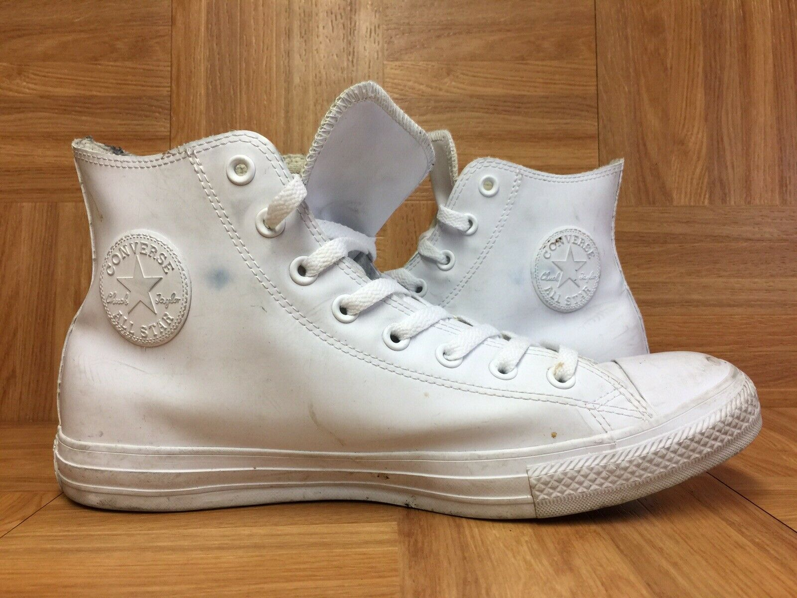 RARE Converse Chuck Taylor All Star White Rubber Hi Top Rubberized Rain Sz 11