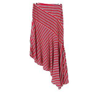 Free-People-Asymmetrical-Luna-Stripe-Skirt-Size-2-Red-White-Black-Viscose