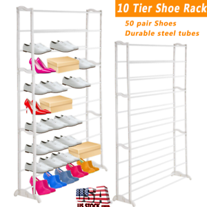 Details about Lightweight 50 Pair 10 Tier Shoe Tower Rack Space Saving  Storage Organizer Home b1271e4d06975