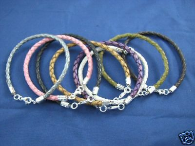 4 pcs Genuine Leather & Sterling Bracelets ALL COLORS