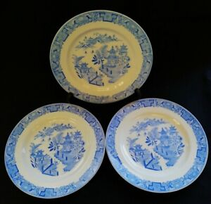3-c1930-Royal-Worcester-Willow-Patt-Plates-Blue-amp-White-FREE-Delivery-UK