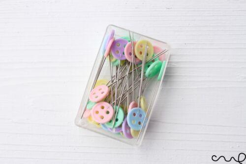40 x 45mm Button Sewing Pins Pastel Flat Head Dressmaking Quilting Craft Serging