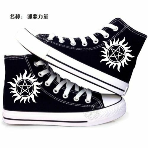 Hot Supernatural Logo Lace Up Canvas Shoes High Ankle Unisex Sneak:Free shipping