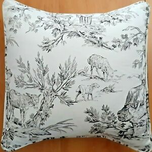 TOILE-Black-on-Ivory-Pillow-Cover-Cotton-French-Country-Made-USA