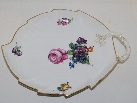 Porcelæn, Let Saksisk Blomst  Stort kagefad, Let Saksisk