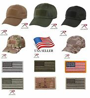 Special Forces Tactical Adjustable Operator Cap Hat & American Flag Patch Low