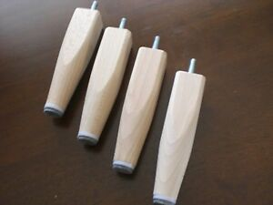4x Sofafüsse Möbelfüße Halbkonisch Holzfüße NATUR Holz Buche Höhe15cm M10