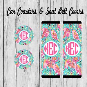 Stupendous Details About Monogram Seat Belt Pad Cover Car Coaster Personalized Lilly Pulitzer Inspired Alphanode Cool Chair Designs And Ideas Alphanodeonline