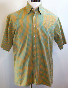 Bugatchi-Uomo-Short-Sleeve-Green-Yellow-Orange-Multi-Color-Plaid-Shirt-M