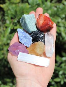 MEDIUM-Chakra-Natural-Stones-Set-7-Rough-Crystals-Raw-Selenite-Stick-Directions