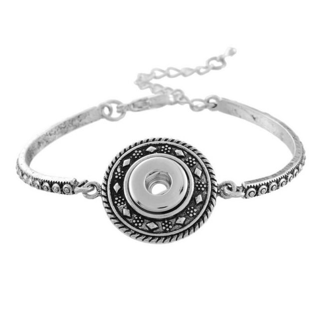 Charms Silver Tibetan Bracelet Fit Chunk DIY Snap Button Carve Flower 18cm