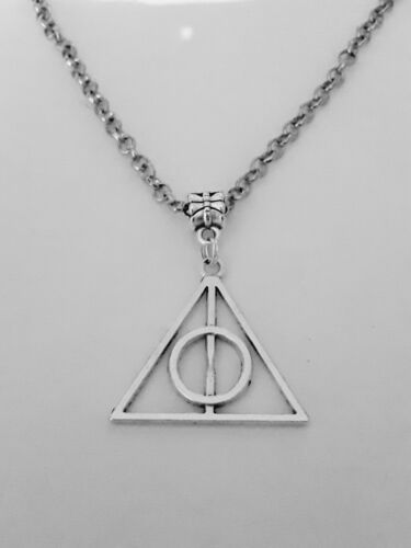 Womens NECKLACE Harry Potter Inspired Deathly Hallows with Pillow Gift Box