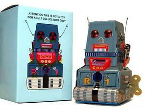 Windup Robot Tin Toy R-1 Space Tank Retro Space Toy