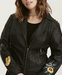 ad9b70acfdf NEW Torrid Embellished Studded Full Zip Moto Jacket Faux Leather PV ...
