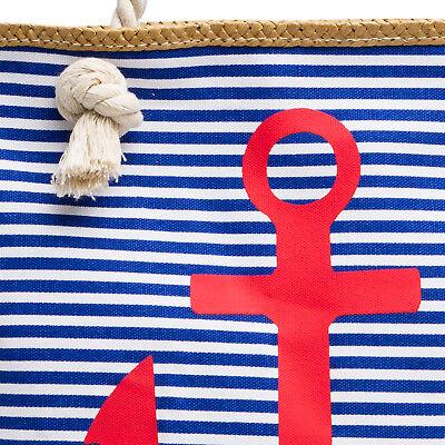 CASPAR TS1040 Damen Strandtasche Badetasche City Shopper Streifen Anker Muster