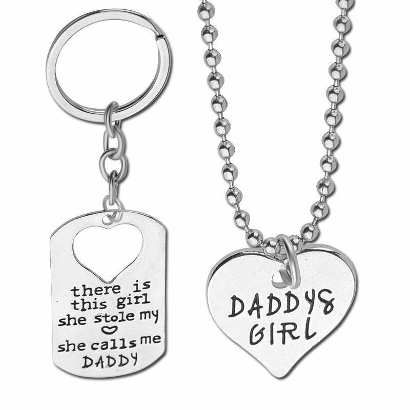 Famille 2Pcs girl fille Papa Love Coeur dog tag porte-clés Collier Père Cadeau