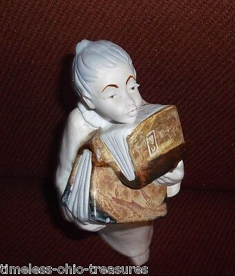 """angel holding books antique porcelain pottery """"ingles"""" Made Spain"""