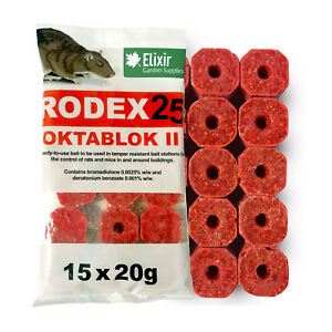 Rodex25 Oktablok Rat & Mouse Poison Bait Blocks