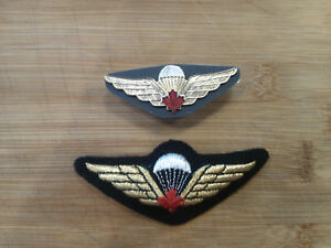 CANADIAN AIR FORCE CANADA JUMP WINGS RED MAPLE LEAF LAPEL PIN BADGE 2.5 INCHES