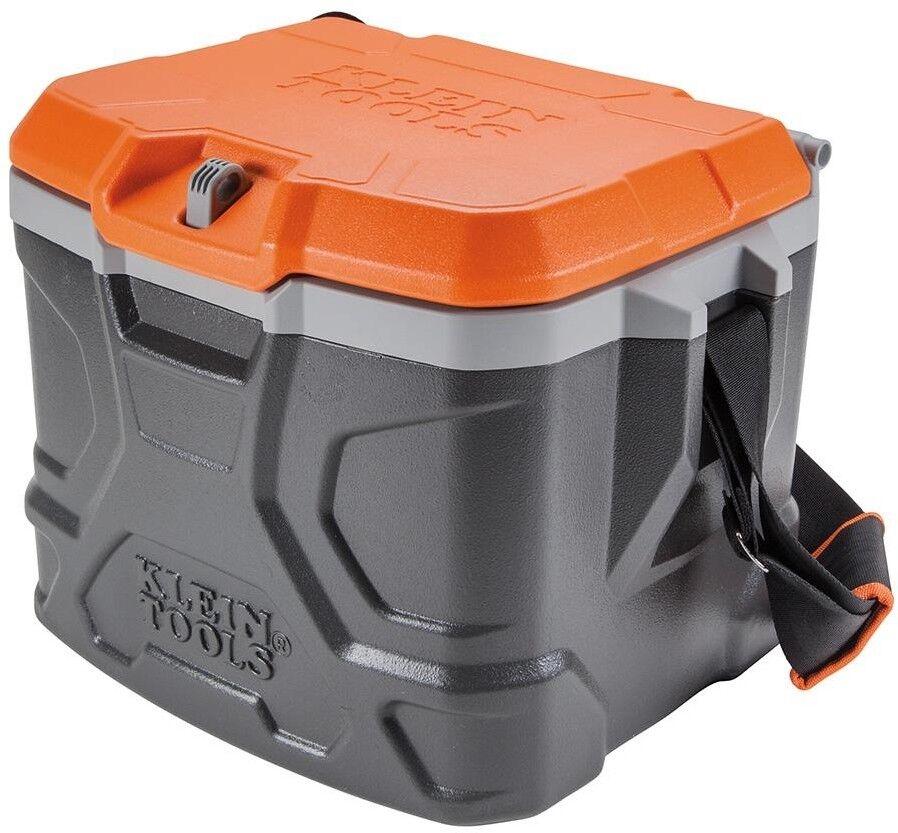17 Qt. Chest Cooler Polyethylene w  Steel Hinged Lid and Shoulder Strap, orange