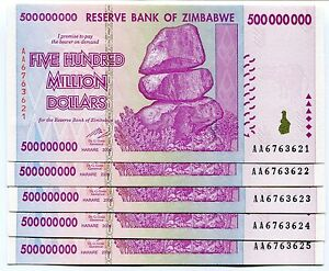 Image Is Loading Zimbabwe 500 Million Dollars 2008 Unc P82 Aa