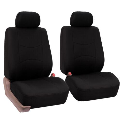 Black Car Seat Covers with Heavy Duty Floor Mats 2 Row Set Auto