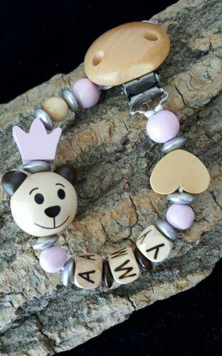 Geniale Holz-Schnullerkette mit Namen Bär Krone Herz rosa natur Mädchen Baby