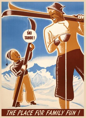 Lake Tahoe Ski Family Fun Place Skiing Winter Sport Vintage Poster Repro FREE SH