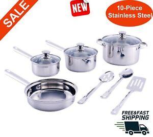 Utensilios-de-cocina-de-10-piezas-de-acero-inoxidable-olla-con-tapa-de-cristal-Olla-apto-para