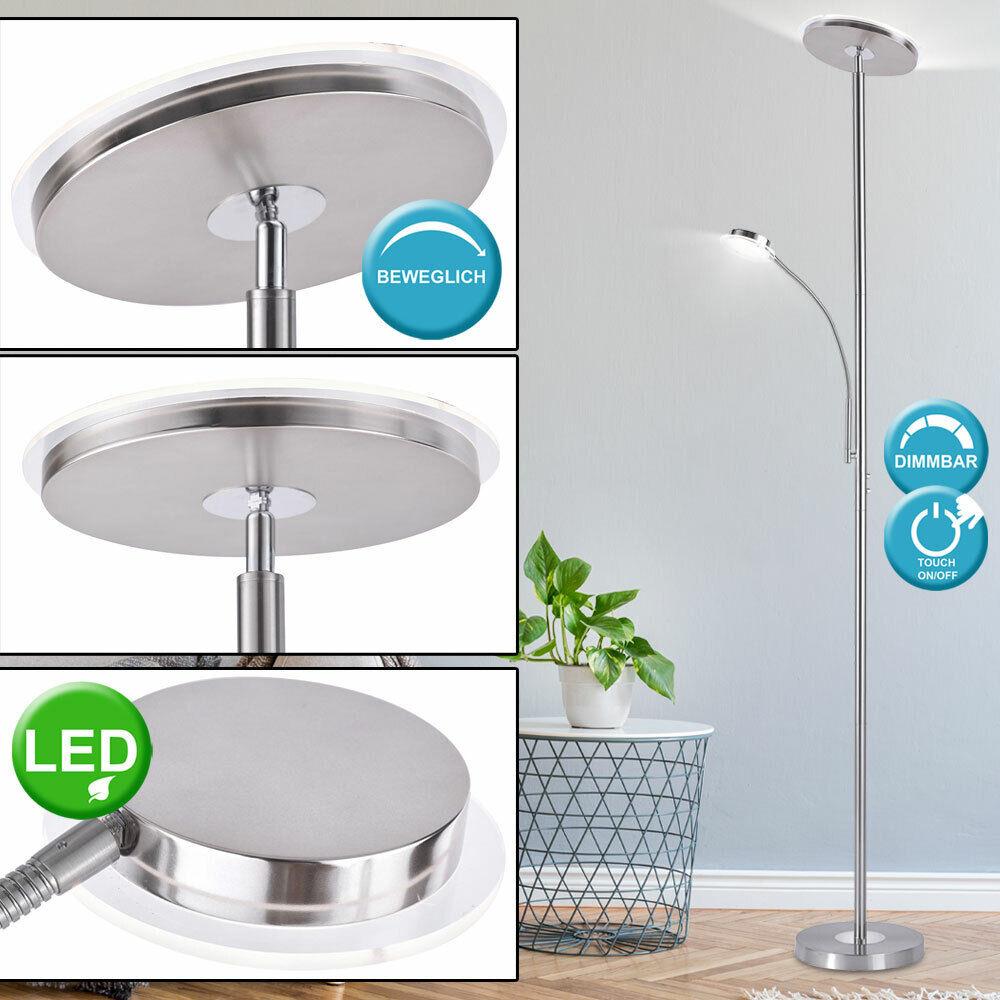 LED Steh Leuchte Ess Zimmer Decken Fluter Stand Lampe Touch Dimmer flexibler Arm