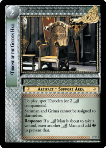 LOTR TCG RISE OF SARUMAN THRONE OF OF OF THE goldEN HALL  FOIL 17O5 Top Shelf Card 949649