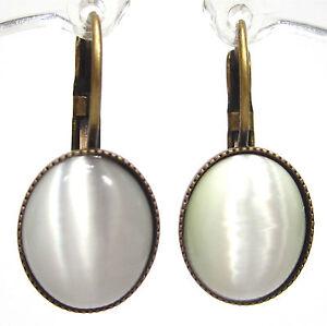 SoHo-Ohrhaenger-vintage-bohemia-glas-mondstein-1960-s-Ohrringe-altgold-bronze