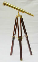 "Marine Navy Nautical Brass Telescope With Wooden Tripod Stand 10"" . New"