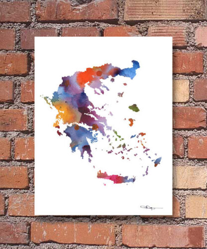 Greece Abstract Watercolor Painting Art Print by Artist DJ Rogers