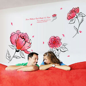 Neu-Wandtattoo-Bild-Sticker-Deko-Schlaf-Wohn-Zimmer-Flur-Rosa-Blume