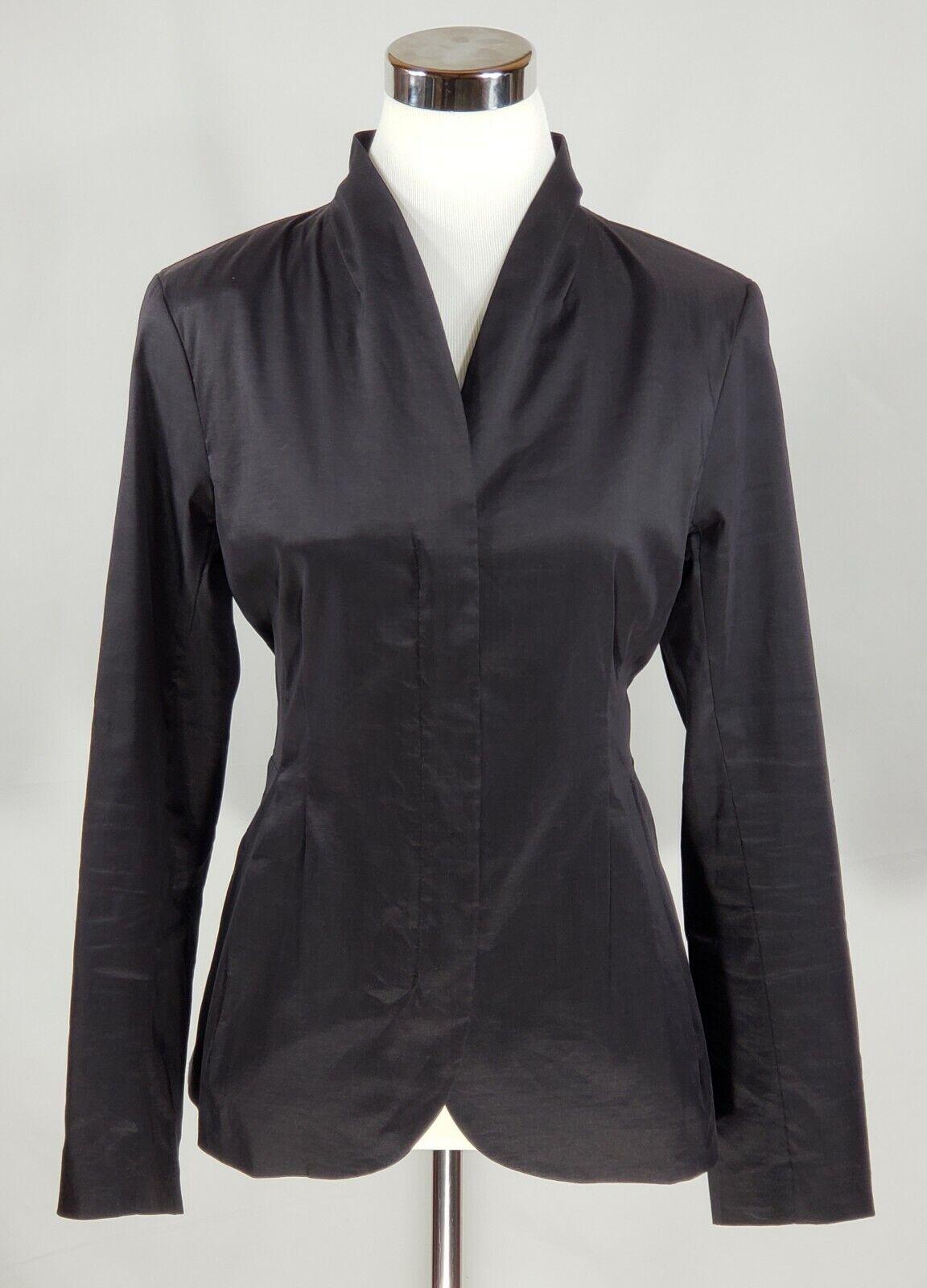 Eileen Fisher Dark Navy bluee Zippered Blazer w  Stand Up Collar - Size Medium