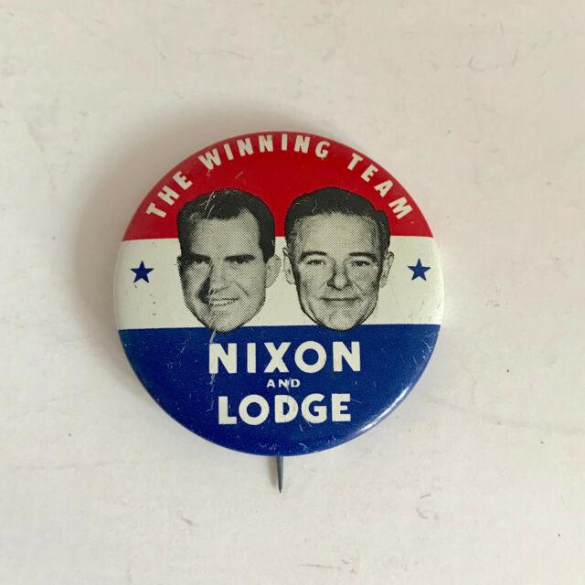 Rare Nixon Pins: F242 Vintage Nixon & Lodge 1960 Election Round Pin