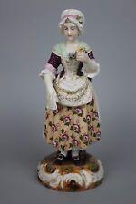 Antique 19C Dresden Volkstedt figurine Woman with Flower WorldWide