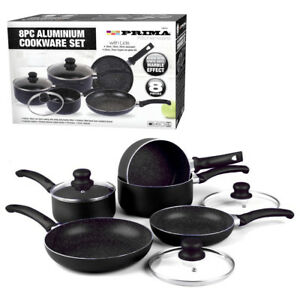 Details About 8pc Cookware Non Stick Kitchen Pan Set Black Saucepan Frying Pan Pot Induction