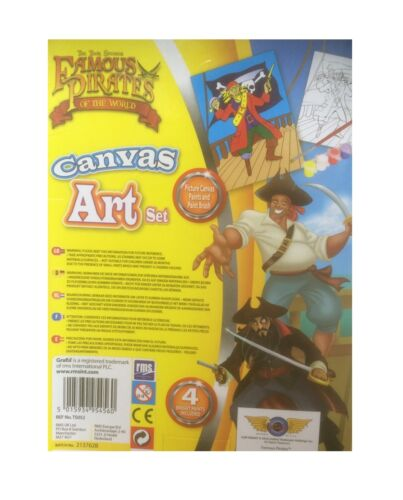 Kids Pirates Canvas And Paint Art Set Kit Printed Pictures Creative Boys Toy New