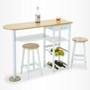 Image Is Loading Oak White Kitchen Island Trolley Cart Dining Table